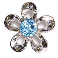 BJT943 METAL FLOWER W/AQUA CRY